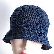 Аксессуары handmade. Livemaster - original item Dark blue hat, panama. Handmade.
