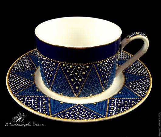 Кружки и чашки ручной работы. Ярмарка Мастеров - ручная работа. Купить Чайный набор. Handmade. Синий, роспись контурами
