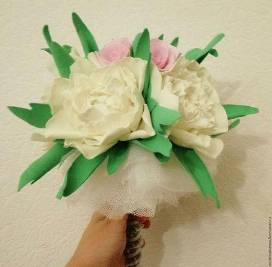"""Свадебные цветы ручной работы. Ярмарка Мастеров - ручная работа. Купить Букет невесты """"Пионы и Розы"""". Handmade. Бледно-розовый"""