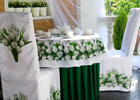 Свадьба 2015, свадьба, скатерть, дорожка, салфетки, чехлы на стулья, белые тюльпаны, тюльпаны
