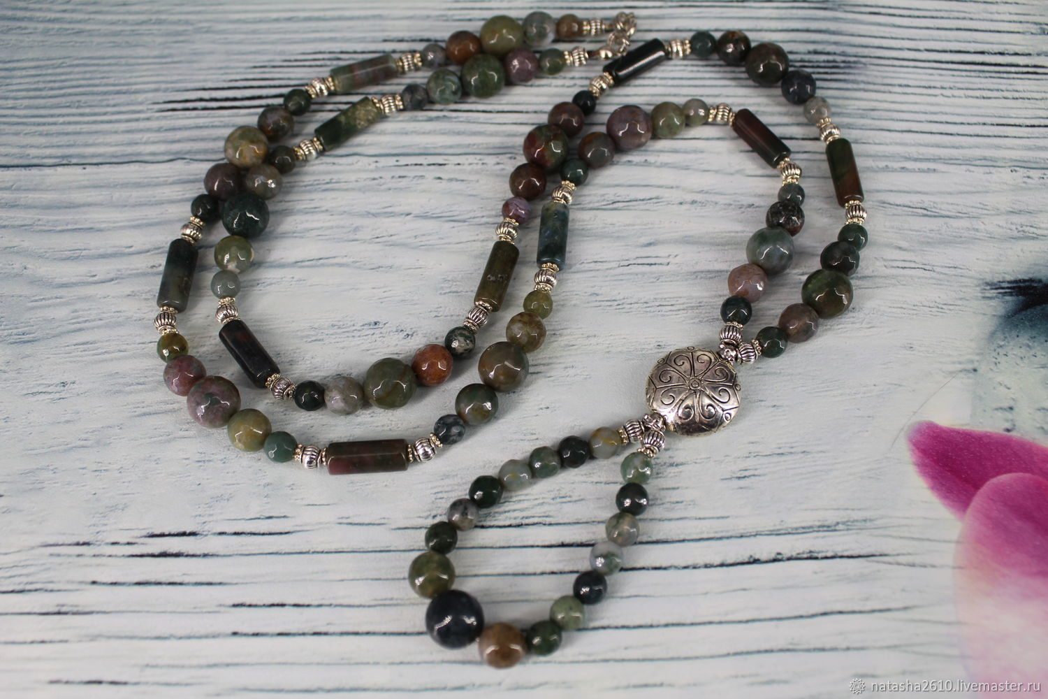 Long necklace (with pendant) made of Indian agate, Necklace, Velikiy Novgorod,  Фото №1
