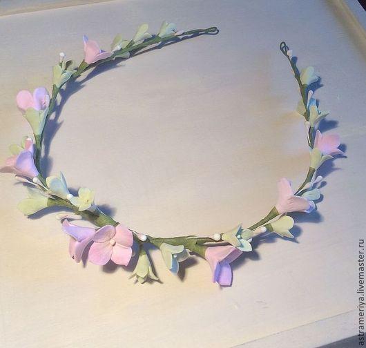 Диадемы, обручи ручной работы. Ярмарка Мастеров - ручная работа. Купить Венок на голову с цветами из полимерной глины розовая гортензия. Handmade.