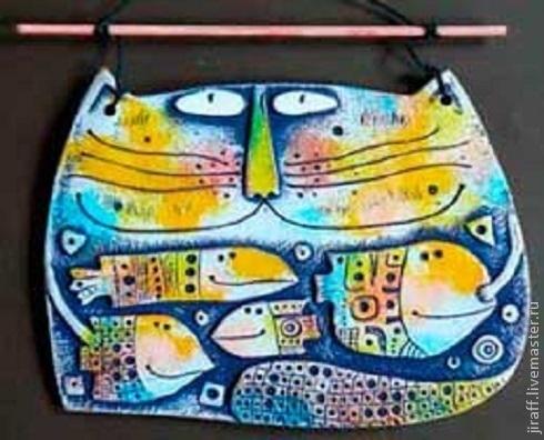 Животные ручной работы. Ярмарка Мастеров - ручная работа. Купить Кот и рыбы. Handmade. Панно на стену, подарок на любой случай