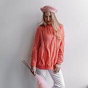 Одежда handmade. Livemaster - original item Jerseys: Women`s large knit oversized sweater in coral color. Handmade.