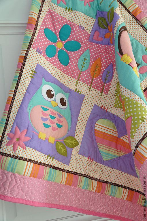 """Пледы и одеяла ручной работы. Ярмарка Мастеров - ручная работа. Купить Детское одеяло """"Совушки"""" (для девочки). Handmade. Розовое"""