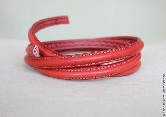 Для украшений ручной работы. Ярмарка Мастеров - ручная работа. Купить Шнур 10х5  простроченный, красный. Handmade. Ярко-красный