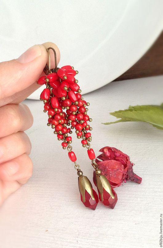 """Серьги ручной работы. Ярмарка Мастеров - ручная работа. Купить Серьги """"Red laces"""". Handmade. Ярко-красный, нарядные серьги"""