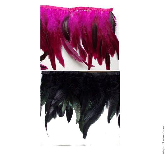 Другие виды рукоделия ручной работы. Ярмарка Мастеров - ручная работа. Купить Тесьма из перьев петуха, черный (от 10 см). Handmade.