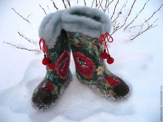"""Обувь ручной работы. Ярмарка Мастеров - ручная работа. Купить Валенки. Валенки для улицы. Валенки женские """"Ночь перед рождеством """". Handmade."""