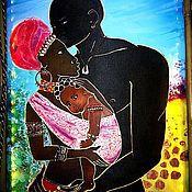 """Картины и панно ручной работы. Ярмарка Мастеров - ручная работа Панно-ночник """"Африка. Любовь"""". Handmade."""