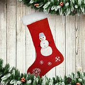 Сувениры и подарки handmade. Livemaster - original item Christmas sock: Christmas sock for sweet gifts Snowman. Handmade.