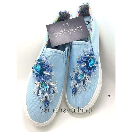 Обувь ручной работы. Ярмарка Мастеров - ручная работа. Купить Слипоны в стразах. Handmade. Слипоны, мокасины в стразах