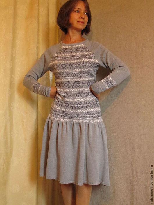 Платья ручной работы. Ярмарка Мастеров - ручная работа. Купить вязаное платье Ирина. Handmade. Голубой, машинное вязание на заказ