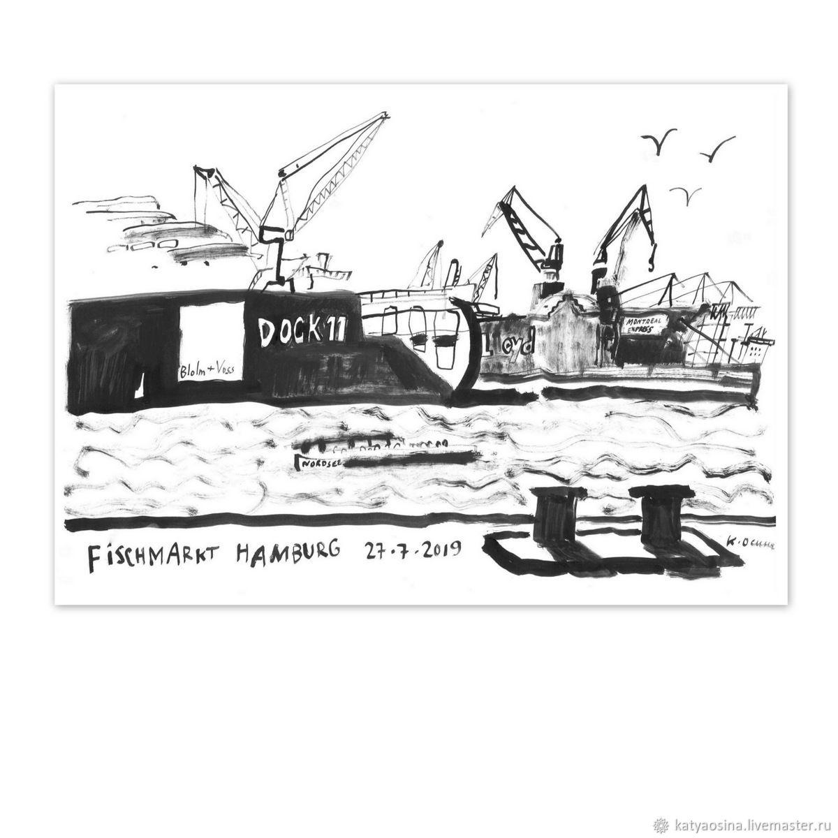 """Картина """"Вид на порт от Рыбного рынка в Гамбурге"""", Картины, Москва, Фото №1"""