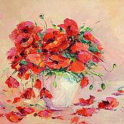 Картины и панно handmade. Livemaster - original item Oil painting on canvas. Red poppies petals. Handmade.