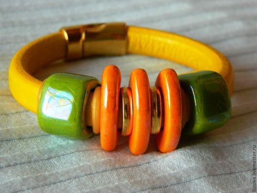 Браслеты ручной работы. Ярмарка Мастеров - ручная работа. Купить Кожаный браслет Regaliz желтый Солнечный. Handmade. Браслет, регализ