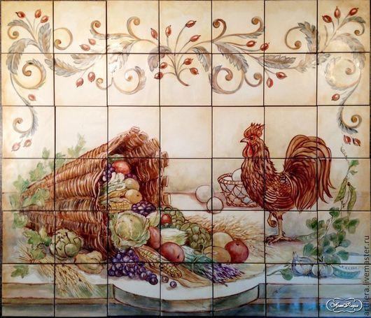 """Декор поверхностей ручной работы. Ярмарка Мастеров - ручная работа. Купить Роспись плитки Фартук для кухни """" Кантри"""". Handmade."""