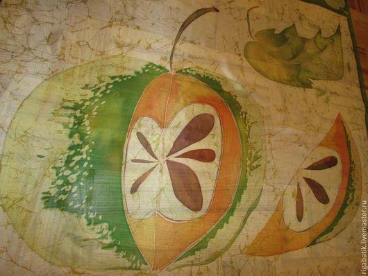 """Шали, палантины ручной работы. Ярмарка Мастеров - ручная работа. Купить Батик платок """"Эх, яблочко!"""" 90 х 90 см. Handmade."""