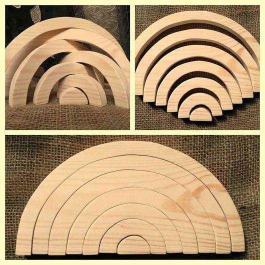 Радуга-пазл, деревянная игрушка ручной работы