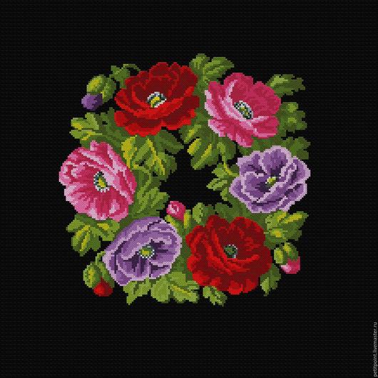 Вышивка ручной работы. Ярмарка Мастеров - ручная работа. Купить ВЕНОЧКИ. Рисунок № 7.13. Handmade. Цветы