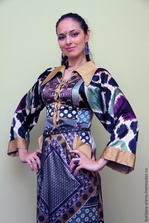 """Платья ручной работы. Ярмарка Мастеров - ручная работа. Купить Шёлковое платье в пол """"Ясмин"""". Handmade. Разноцветный, дизайнерская одежда"""