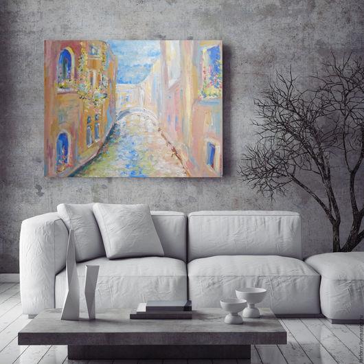 Город ручной работы. Ярмарка Мастеров - ручная работа. Купить Картина. Венеция.. Handmade. Серый, картина, картина маслом, венеция
