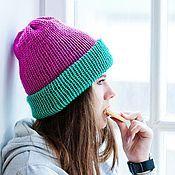 Аксессуары ручной работы. Ярмарка Мастеров - ручная работа Мятно-розовая шапка. Handmade.