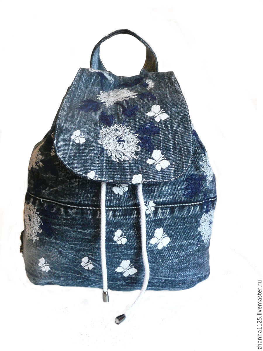 Вышивка на джинсовом рюкзаке 44