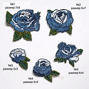 Материалы для творчества handmade. Livemaster - original item Embroidery applique Blue roses  patch for decoration and design. Handmade.