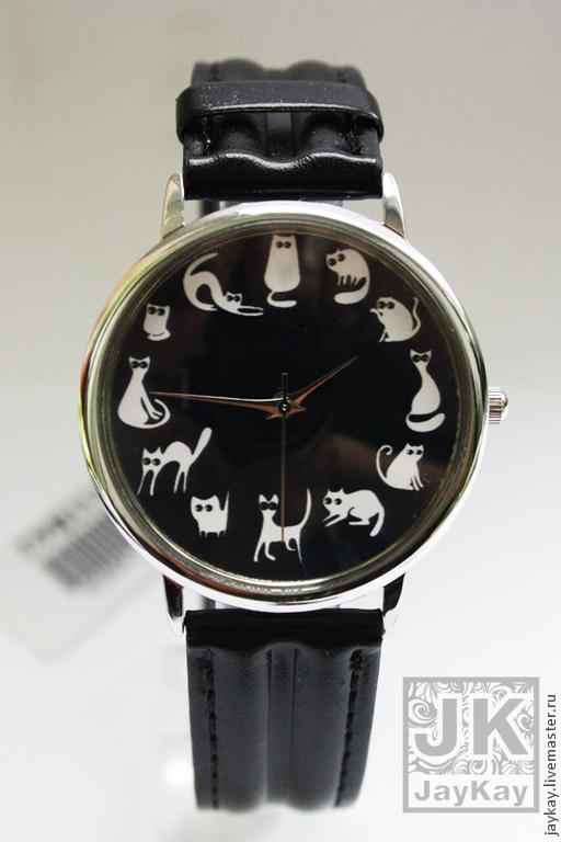 Часы ручной работы. Ярмарка Мастеров - ручная работа. Купить Часы наручные JK. Handmade. Чёрно-белый, часы
