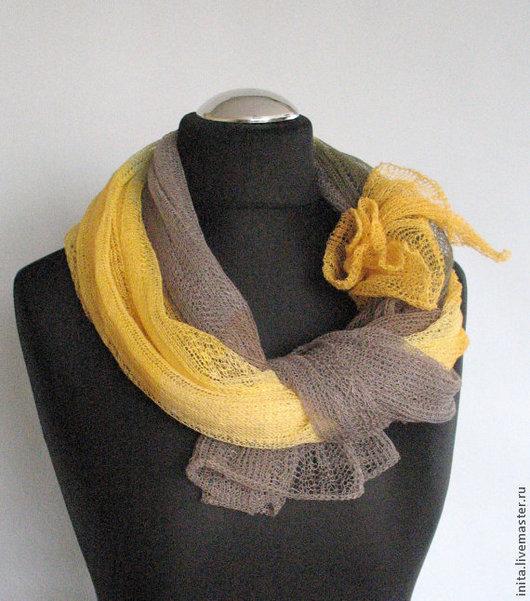 Шарфы и шарфики ручной работы. Ярмарка Мастеров - ручная работа. Купить Шарф льняной многоцветный (72см x 200см). Handmade.