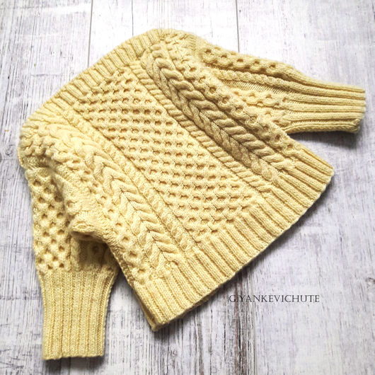 Одежда унисекс ручной работы. Ярмарка Мастеров - ручная работа. Купить Пуловер детский из мериноса. Handmade. Желтый, меринос