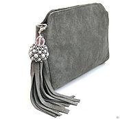 Сумки и аксессуары handmade. Livemaster - original item Light grey suede clutch bag with brush. Handmade.