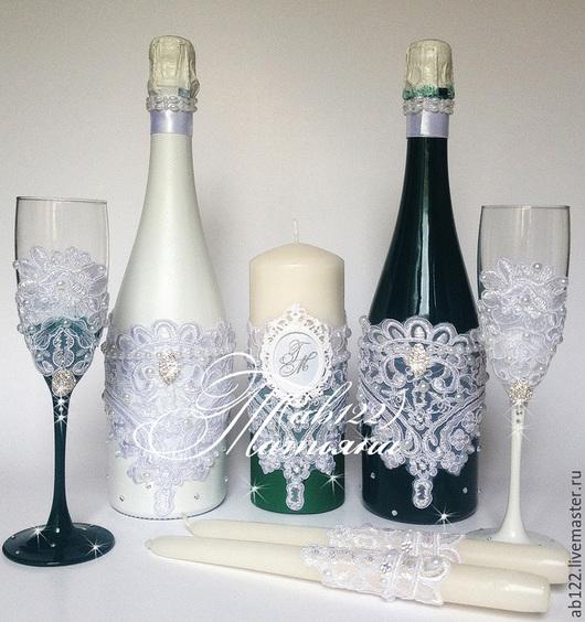 Свадебные аксессуары ручной работы. Ярмарка Мастеров - ручная работа. Купить Свадебный бело-изумрудный набор. Handmade. Разноцветный, москва