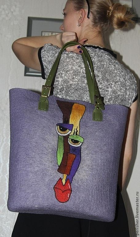 Купить Валяная сумка-ридикюль Оттенки - сумка валяная