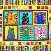 Для дома и интерьера ручной работы. Ярмарка Мастеров - ручная работа печворк одеяло детское    КОШКИ КОТЯТА КОТЫ 2   одеяло пэчворк детское. Handmade.