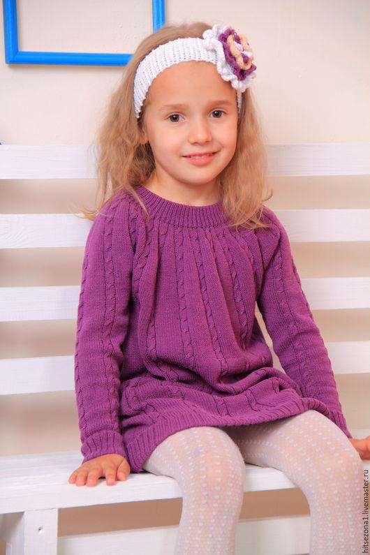 Одежда для девочек, ручной работы. Ярмарка Мастеров - ручная работа. Купить Фиолетовое платье с косами.. Handmade. Тёмно-фиолетовый
