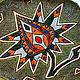 Керамическое панно или блюдо Экзотический цветок на зеленом фоне. Авторская керамика Ксении Гольд