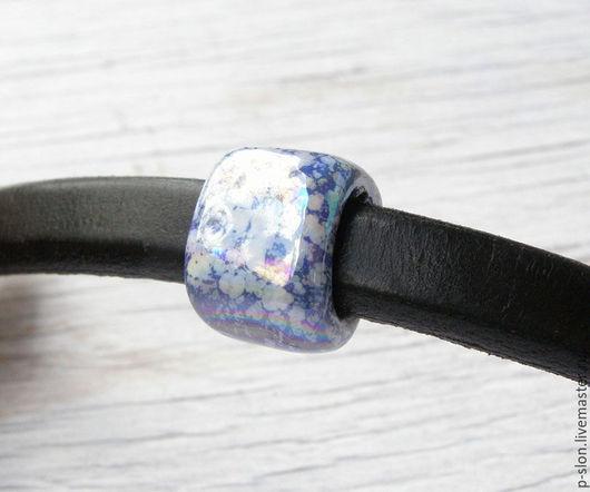 Для украшений ручной работы. Ярмарка Мастеров - ручная работа. Купить Керамическая бусина для regaliz (регализ) синяя с белым 16мм рег209. Handmade.