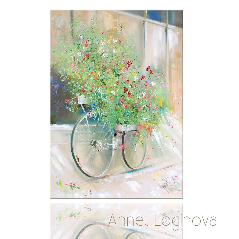 Репродукции ручной работы. Ярмарка Мастеров - ручная работа. Купить Принт Цветочный велосипед. Handmade. Весна, репродукция, подарок для женщины