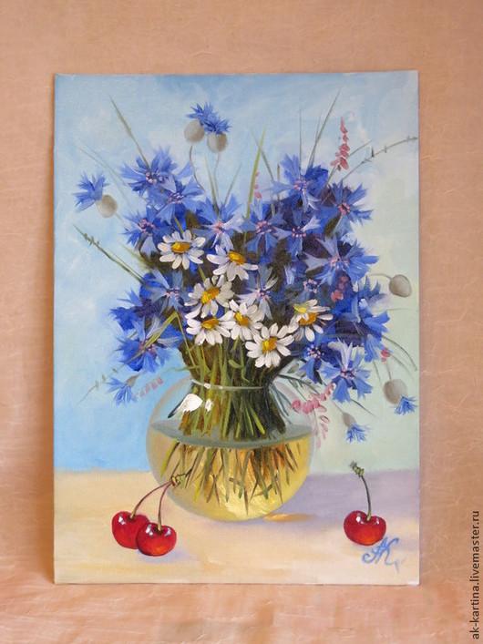"""Картины цветов ручной работы. Ярмарка Мастеров - ручная работа. Купить """"Цветы в вазе"""" Холст на картоне. Масло.. Handmade. Разноцветный"""