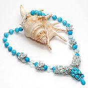 Украшения handmade. Livemaster - original item Necklace of turquoise and pearls Hortense. Handmade.