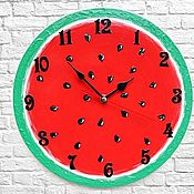 Для дома и интерьера handmade. Livemaster - original item Watermelon Wall Clock Kitchen. Handmade.