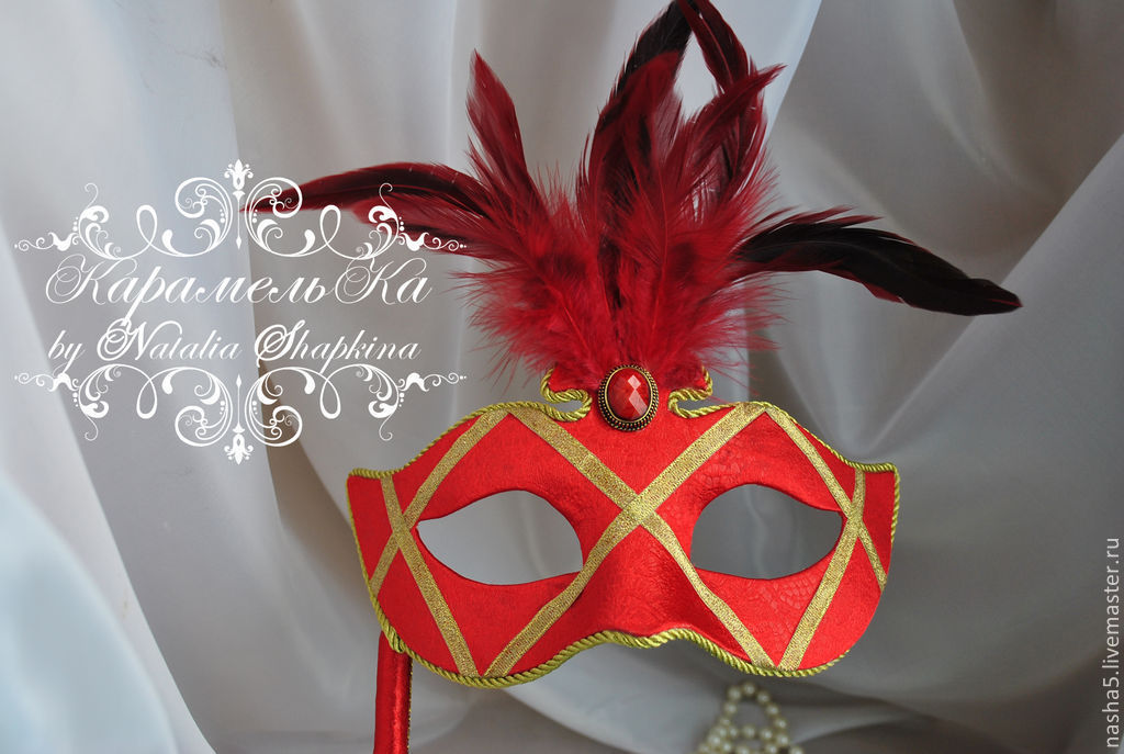 Mask in Venetian style with feathers 'Flamenco', Clothing, Smolensk, Фото №1