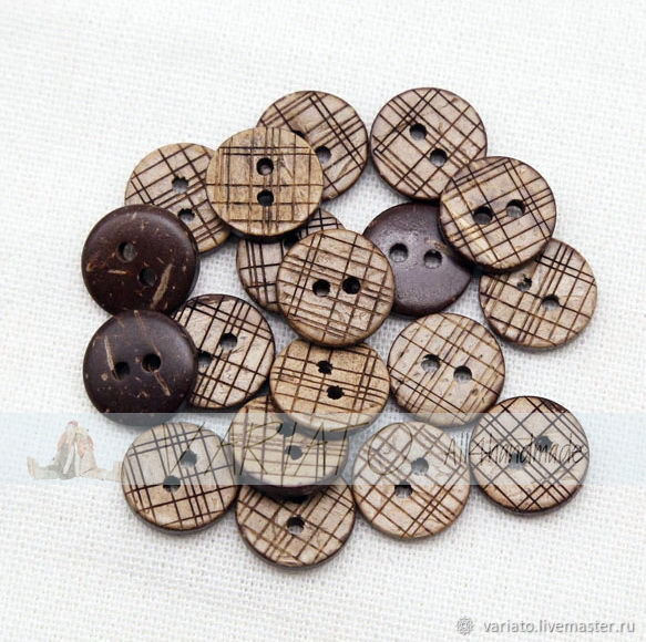 Пуговицы кокосовые клеточка 13 мм, Пуговицы, Липецк,  Фото №1