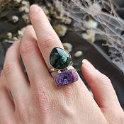 Украшения handmade. Livemaster - original item Double ring with charoite and serafinite (clinochlor). Handmade.
