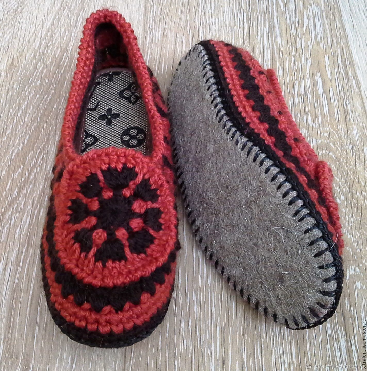 b52d1eb5f5fc77 Livemaster Handmade Shoes handmade. Home Slippers crocheted Redheads.  Knitted stuff from Svetlana.