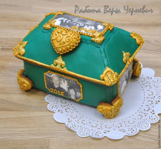 Кулинарные сувениры ручной работы. Ярмарка Мастеров - ручная работа. Купить Изумрудная пряничная шкатулка на 55-летний юбилей свадьбы. Handmade.
