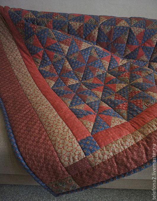 """Текстиль, ковры ручной работы. Ярмарка Мастеров - ручная работа. Купить Лоскутное одеяло """"Вертушка синяя"""" (12). Handmade. Синий"""