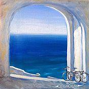 """Картины и панно ручной работы. Ярмарка Мастеров - ручная работа """"Выход в Море"""" Картина маслом. Морской стиль. Велосипед. Handmade."""